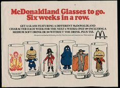 80s, flashback, glass 70s, glasses, blast, 1970s, mcdonaldland glass, childhood, mcdonalds vintage