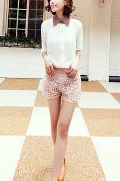 Sheer Lace Panel Pearls Embellished Shorts OASAP.com