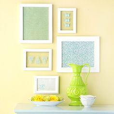 "Rub It On Wall Art ""Rub-ons applied to glass quickly update basic picture frames. Pair the designs with framed pieces of pretty patterned paper for a low-cost gallery."""