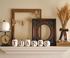Stencils came in handy for the lettering on her burlap banner and painted pumpkins.