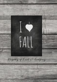 I Love Fall Chalkboard Style Instant Download by LissetandCompany