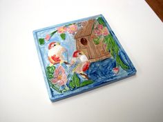 Painted Birds Tile by ColorMeClayful on Etsy, $12.00