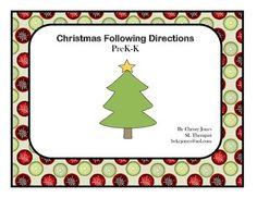 This activity is fun to use with younger students. It works on following directions. Suggested directions are included.  Teachers may change directions as they choose. Included are one background and 16 different pictures. I have included 2 different ornaments, candy canes, stockings and presents.