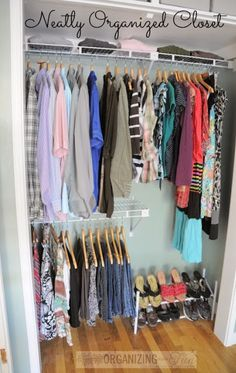 Beautiful and neatly organized master closet - using a simple closet organizer and things. Budget friendly!!