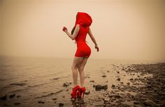 beaches, plage, red riding hood, london, hoods, dresses, october, toxic vision, ink