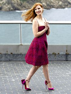 Jessica Chastain looks flawless at a photo call for her new movie, The Disappearance of Eleanor Rigby, in Spain