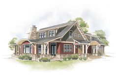 Anderson Windows Craftsman Bungalow Home Style Illustration