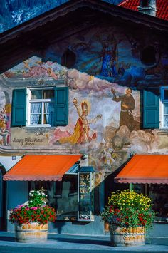 Bavarian building facade, Garmisch-Partenkirchen, Germany  (lovely place!!! I used to ski there as a little girl)