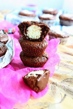 Gluten Free Chocolate Muffins with Cream Cheese Coconut Filling