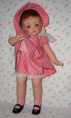 """1930s Effanbee 19"""" PATSY ANN Doll -- All Original -- Outstanding ! Wardrobe includes this rare & beautiful 3 piece Molly-es salmon/pink dotted outfit"""