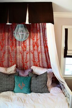 DIY Canopy Bed (I like the two colors of the panels)