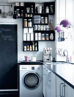 smalltalk kitchen design in black and white with purple details in Copenhagen