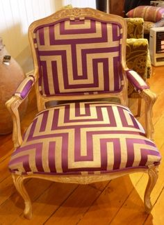 Classical, Majestic, Purple chair. Purple and gold fabric in a greek key pattern, large scale.