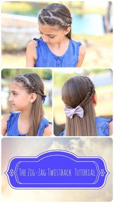 Zig-Zag Twistback Hairstyle #cutegirlshairstyles #hairstyles #twists #hairstyle #CGH #cghzigzagtwists