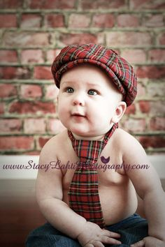 Red Plaid Newsboy Hat and Long Neck Tie.  Photo Prop for boys for newborn, baby, infant, toddler, and children