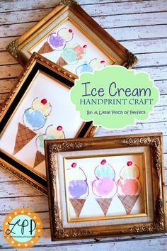 Frame this Ice Cream Handprint Craft  and hang it on the wall!