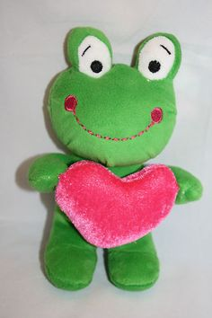 """Dan Dee Green Frog Plush Pink Heart Big Smile White Eyes 8"""" Stuffed Animal Toy"""
