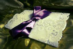 Lace Wrapped Wedding Invite. elegant