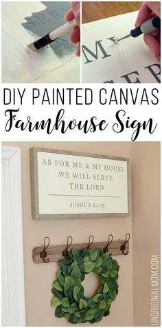 Love this farmhouse sign made by stenciling on a canvas. Great Magnolia Market???