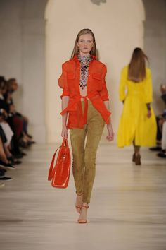 Spring 2015 Collection: Ralph Lauren takes us on a romantic, modern safari, emboldened by luminous colors played against the heritage of pure khakis.