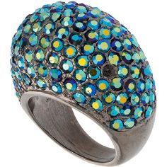Peacock stone set dome ring