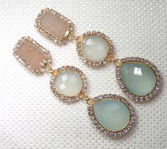 Bezel Set Seafoam Green Gemstone Earrings Swarovski Diamond Bezel Look Chalcedony Jasper Druzy Post Clip On Statement Earrings - Erin. $199.00, via Etsy.