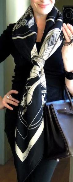 'Ex-Libris' Hermès cashmere shawl in a basic slide knot