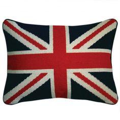 Jonathan Adler British flag needlepoint cushion