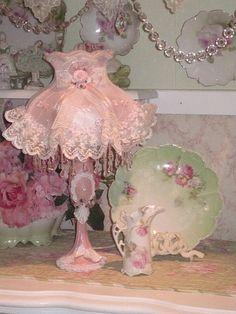 PInk Victorian dress lamp