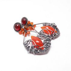 Silver wire wrapped earrings orange autumn by MadeBySunflower, $170.00