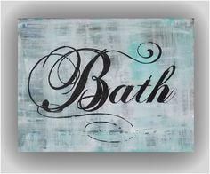 "6""x8"" Bath wall decor  abstract canvas sign 7-142. $21.00, via Etsy."