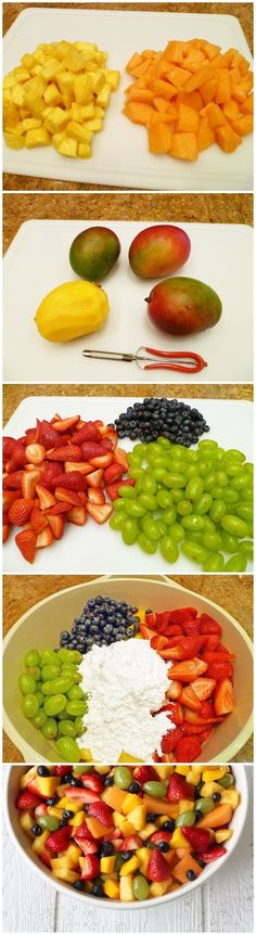 fruit salad:  1 fresh ripe pineapple 1 fresh ripe cantaloup 4 fresh ripe mangoes 2 pounds of fresh strawberries 4 cups of seedless green grapes 1 1/2 cups of fresh blueberries 3 to 5 cups powdered sugar. Lime juice all over