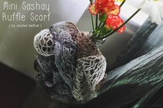 Sashay Yarn Ruffle Scarf  Wine Bottle Vase