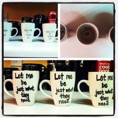Coffee mugs made from dollar tree cups with sharpie markers. Baked at 350 for 30 mins. Teacher inspiration !
