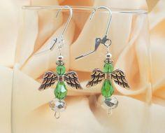 Christmas Angel Earrings/ Green and Crystal by LittleGemsandMore