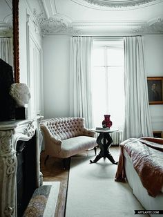Love the muted color palate. And the way the curtains blend with the walls...