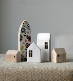 Folk Miniature Wood Town by saysthetree on Etsy