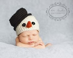 Snowman hat - SO cute! Need to find a pattern for this!