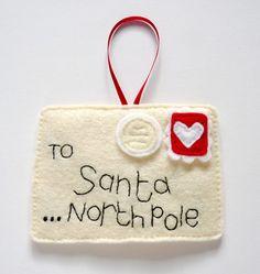 letter, christmas felt decorations, christma idea, felt craft, felt christmas ornaments