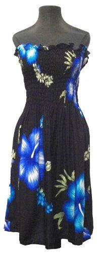 HAWAIIAN HIBISCUS BLACK & BLUES SHORT SUN DRESS- « Dress Adds Everyday
