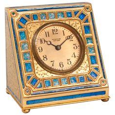 Tiffany Studios Gilt Bronze and Enamel Clock, 1900