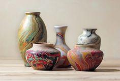 multicolored vases