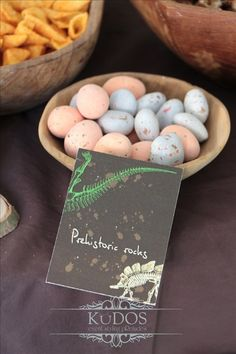 Candy prehistoric rocks at a Dinosaurs Birthday Party!  See more party ideas at CatchMyParty.com!