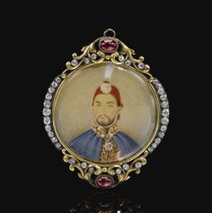 A Miniature of Abdülmecid I (r.1839 - 1861) in a diamond- and ruby-set Frame, second half 19th Century