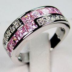 SZ6/7/8/9 Lab Pink sapphire crystal 10KT WGF Ring . Starting at $7 on Tophatter.com!
