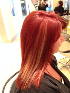 Copper red with blonde chunk