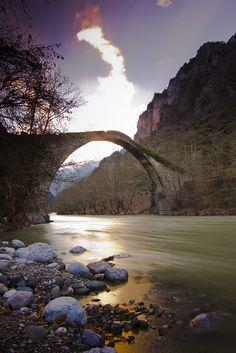 Ancient Bridge of Konitsa in river Aoos, #Epirus, #Greece