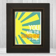 Inspirational Art Print 11x14 - Stevie Wonder Lyrics - You Are The Sunshine of My Life Lyrics. $22.00, via Etsy.