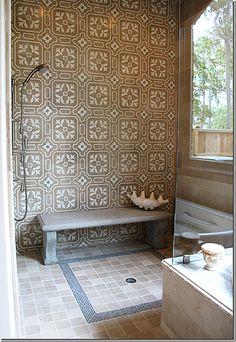 Garden bench instead of tiled bench in shower