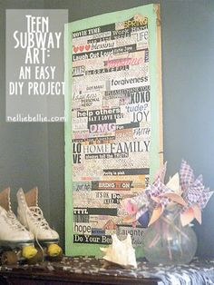 teen subway word art; a simple Modpodge project from NellieBellie